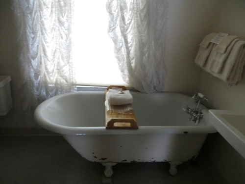 I hope to stay in the Twain room to enjoy the journals...next time...and it has a clawfoot tub.