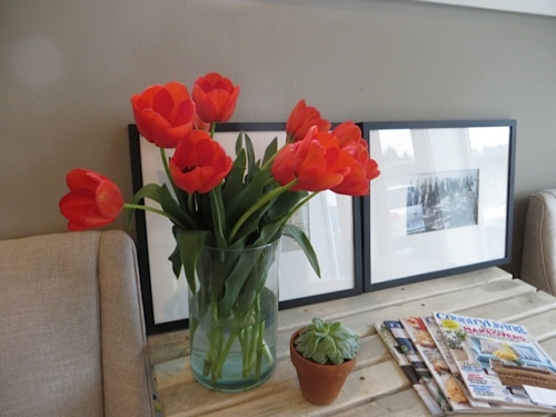 Her office has two lovely tulip bouquets.
