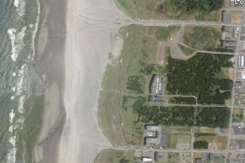 satellite view of beach approach roads