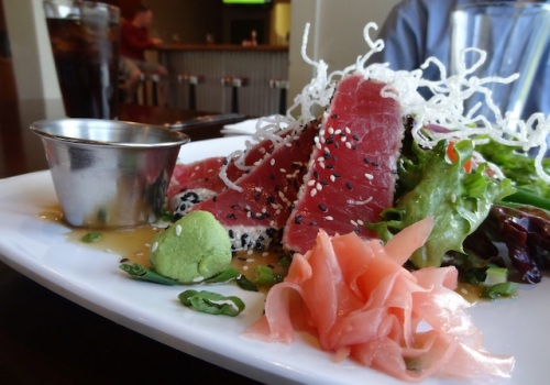 delicious ahi tuna, accompanies by $2 each yummy fish tacos (not pictured)
