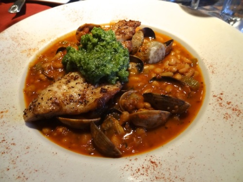 the special:  Rockfish, with parsley pesto, on beans, with clams.