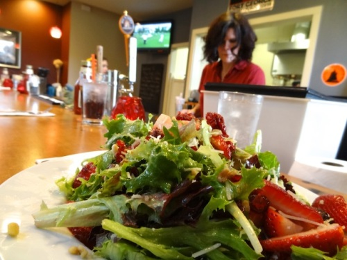 Strawberry salad...and Carmen at work