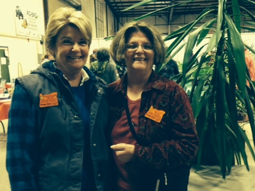 Debbie Haughsten and Darlene Houser provided a cheerful welcome and advice to all at the plant sale..