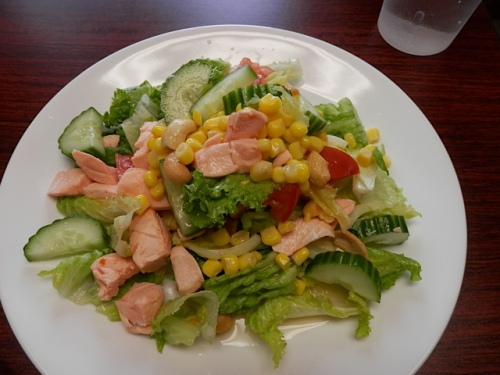 a salmon salad delicate and light...