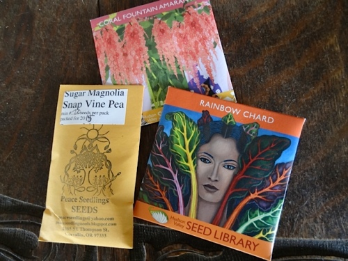 and some seeds, including the 'Sugar Magnolia' edible pea that has lovely purple flowers.