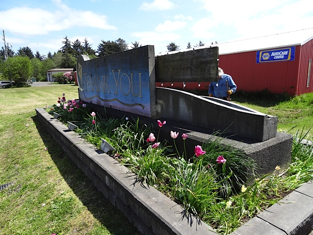 The back of the sign still has some tulips in bloom.