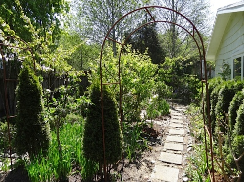 looking back at the east side garden