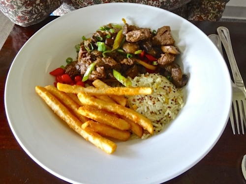 Allan's photo of the delectable lomo saltado