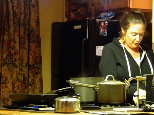 Ann makes another course: pasta with cauliflower, and regales us with tales of the popularity of cauliflower in Sicily.