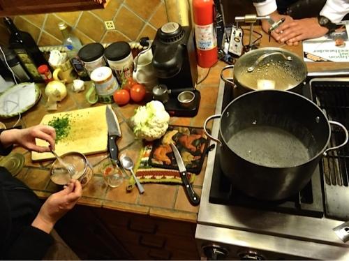the pasta course in progress (Allan's photo)