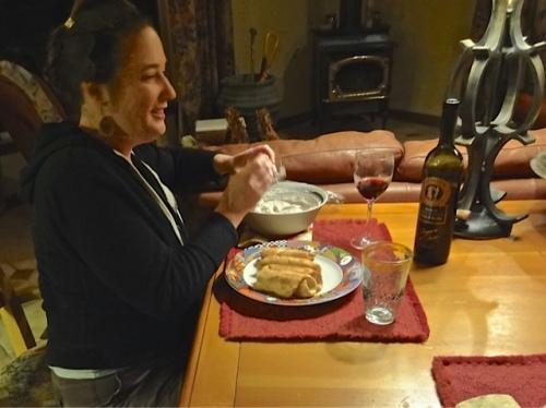 Ann stuffing cannolis for dessert.