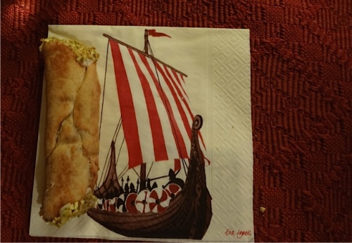 Cannoli served on her dad's Viking napkins.