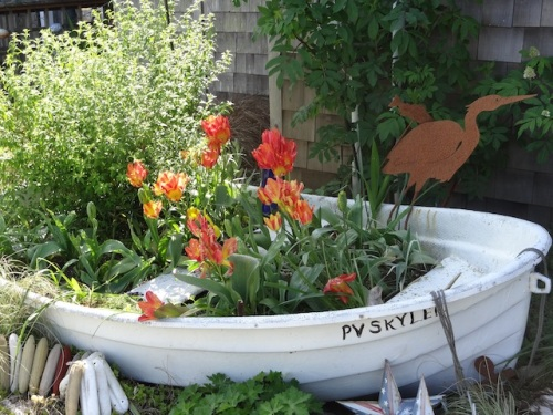 Time Enough Books garden boat with Tulip 'Florette'