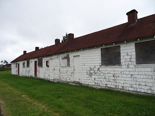 This abandoned row of small apartments must have an interesting history.