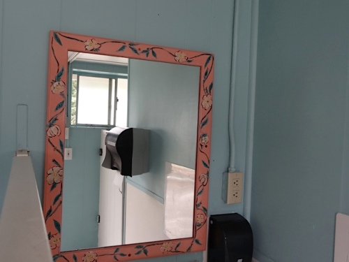 "In the women's restroom:  my former partner, Robert, painted this ""Desert Rose"" mirror."