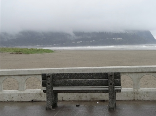 south side, with the headland obscured by rainy mist