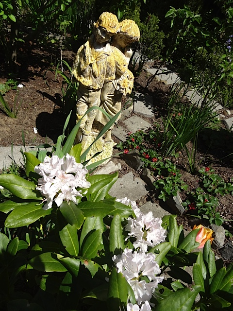 This statue was the subject for a plein aire painter in the garden.