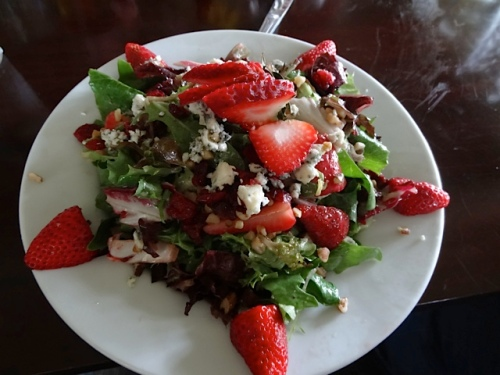 The strawberries in the strawberry salad were extra delicious today.