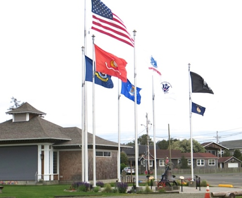 Veterans Field Flag Plaza: a somewhat windy day