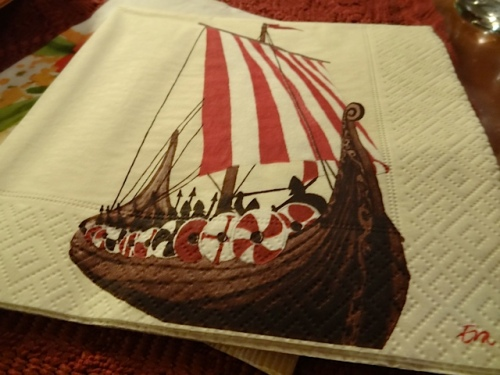Ann's father is especially fond of his Viking napkins, which I recall he purchased in Astoria.