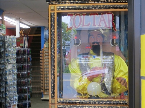In the shop, Zoltar kept offering to tell our fortune.