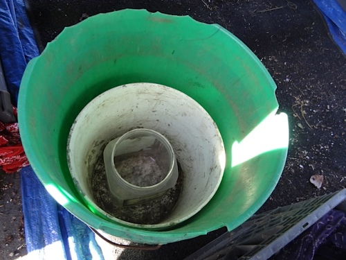a burble bucket, a bucket to drain the plant into, and a dipper
