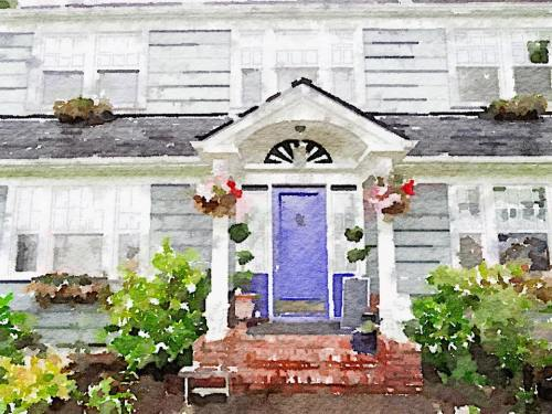 A Waterlogue of the front of the Charles Nelson Guest House