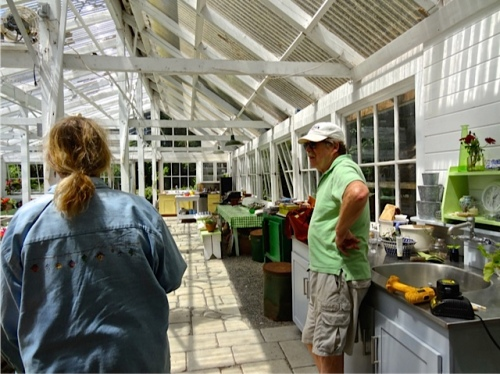 with Mike in the greenhouse