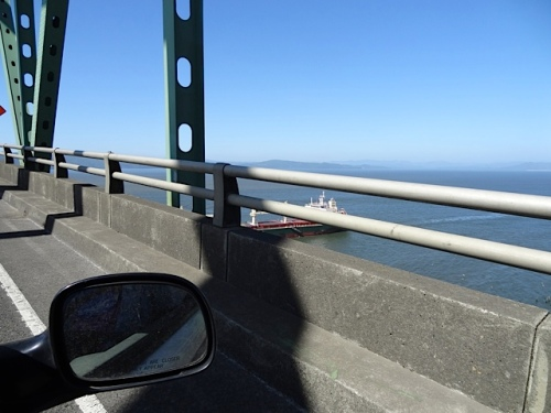 On the Astoria Megler bridge:  Here is why one end of the bridge is so tall.