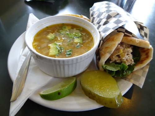 tortilla soup and tuna in pita bread