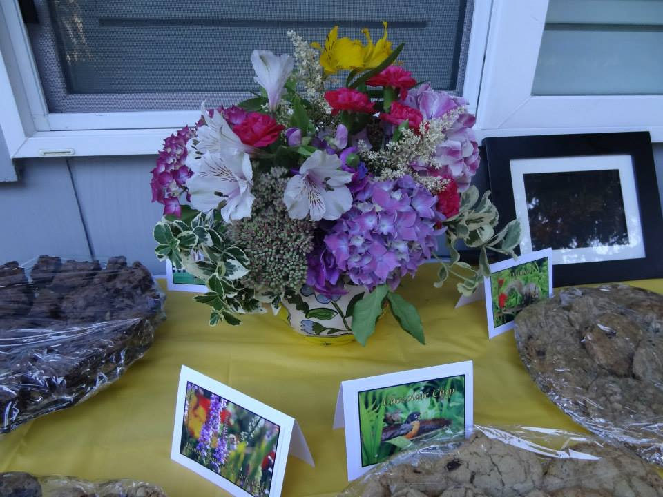 bouquet, Kristine's cards, and treats