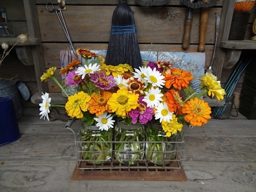 bouquets in the greenhouse