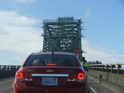 We'd left extra time for stopping for work being done on the Astoria Megler bridge.