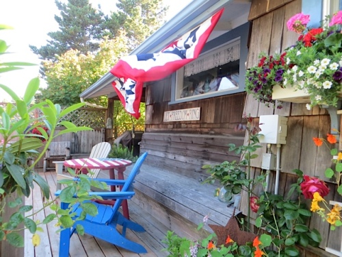 Jo's back deck with bunting