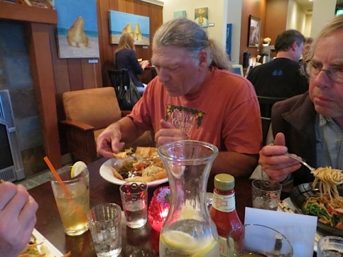 Dave and Allan dig in.