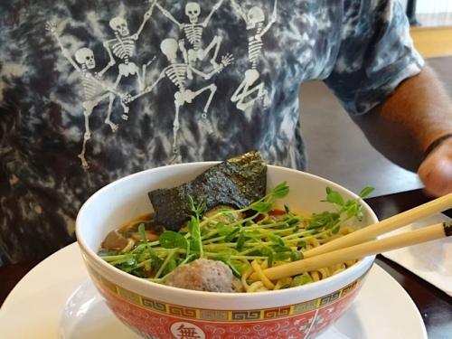 noodle bowl and Dave's shirt
