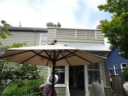 a deck overlooks the garden