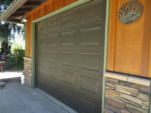 I think this is just a regular garage door, but painted...which I would like at our house.