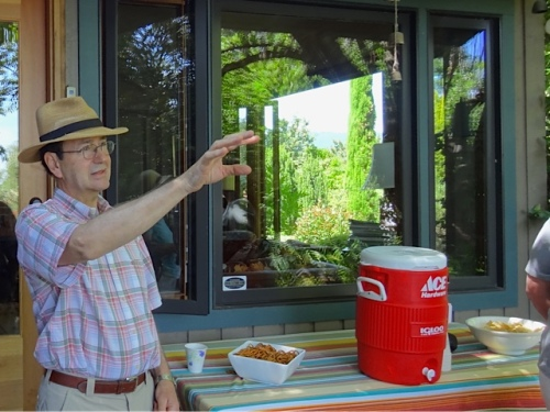 snacks, cool water, George, and the beautiful windows (Allan's photo)