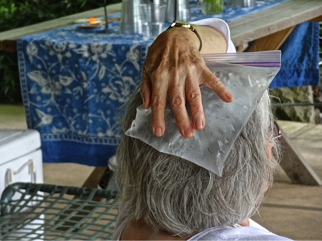It was still so hot that this tour guest was putting a bag of ice on her head.  (Allan's photo)