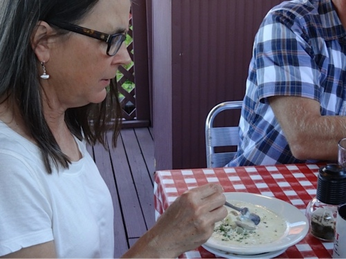 Pam with the Depot's renowned clam chowder (Allan's photo)