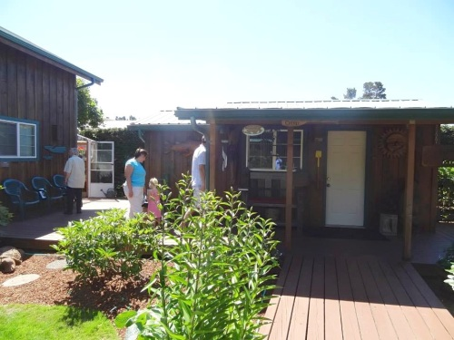 guest cabin, back of garage, greenhouse door; outdoor shower is behind guest cabin