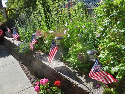 Jo's garden all ready for Fourth of July company.