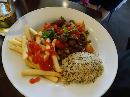 Allan's lomo saltado (which he had already ketchuped)