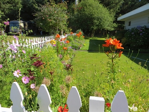 picket fence garden (east side of house and office)