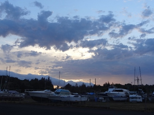 sky over the boat storage yard