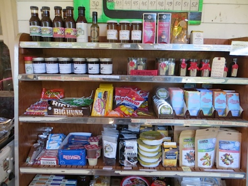 all sorts of snacks in the shop on the sunporch