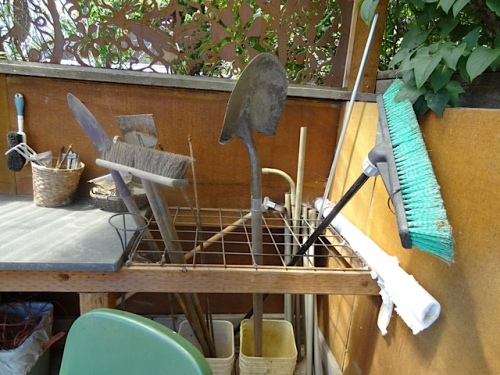 tools in the kitchen garden shed