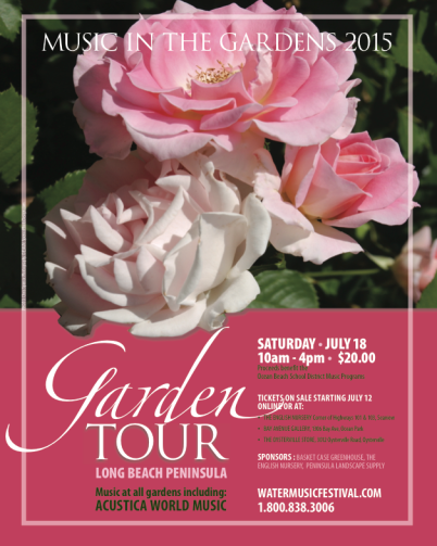just a reminder that it is almost time for the Music in the Gardens Tour