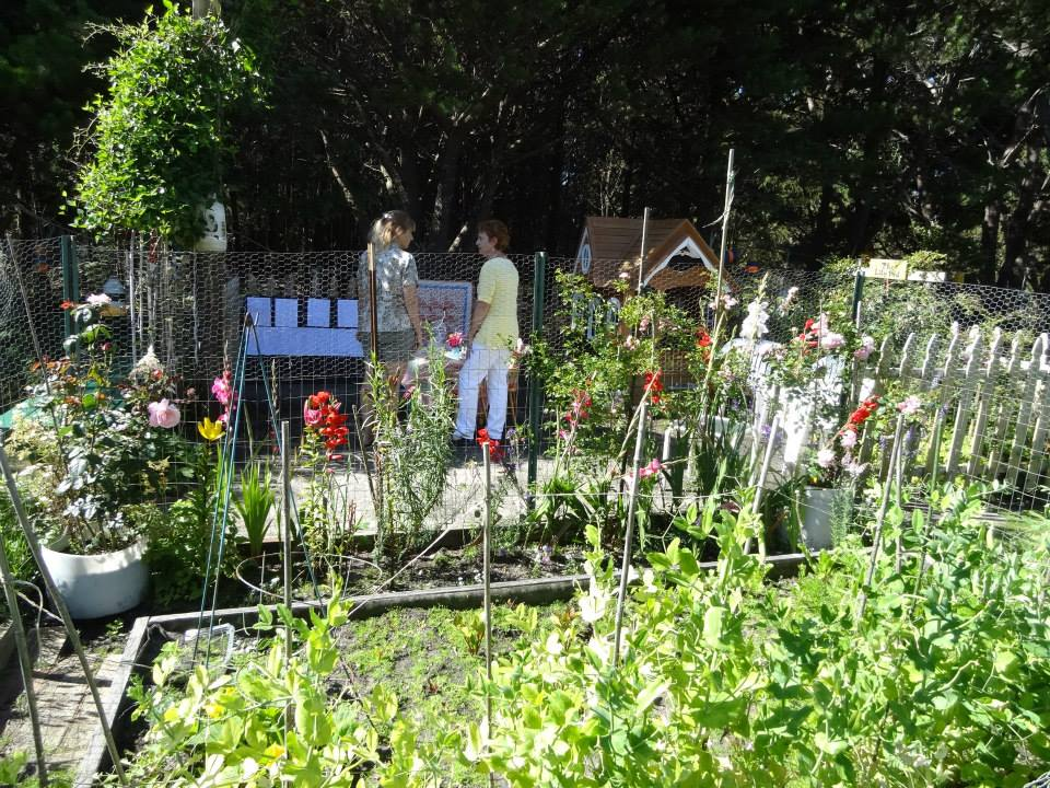 looking through the veg patch into the playhouse patio